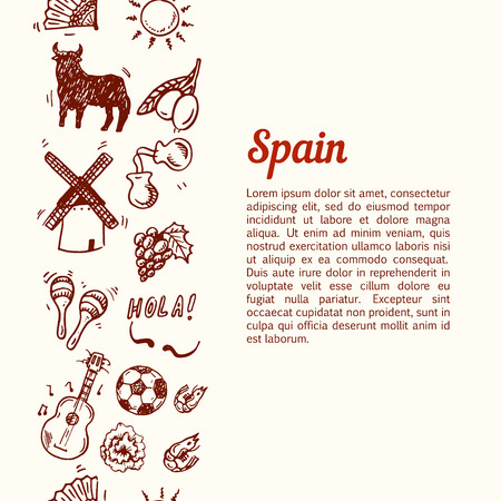 castanets: Vertical seamless background with hand drawn Spain symbols set