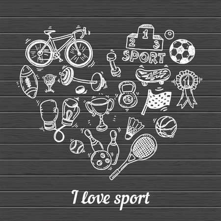 deporte: Me encanta el deporte, dibujado a mano conjunto del doodle