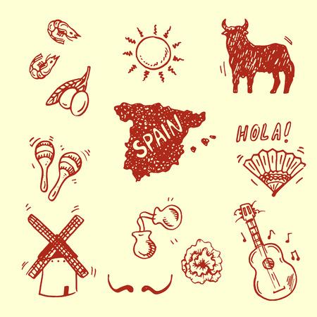Hand getekende Spaanse symbolen collectie Stock Illustratie