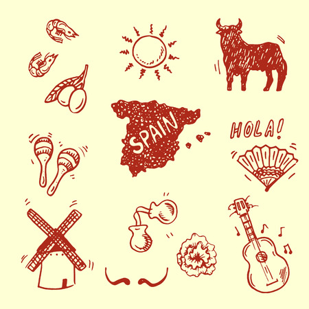 Hand drawn Spanish symbols collection