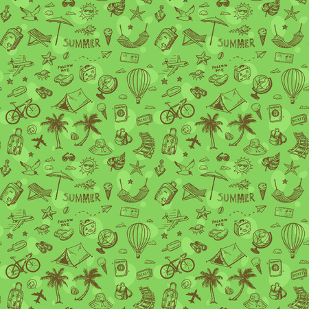 Travel seamless background. Hand drawn summer holidays pattern.