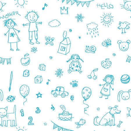Hand drawn doodle children drawing set