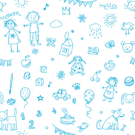 Hand drawn doodle children drawing set