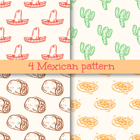 spanish ethnicity: Hand drawn mexican seamless patterns set.