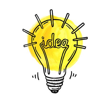 lightbulb icon: Hand drawn creative idea lightbulb.