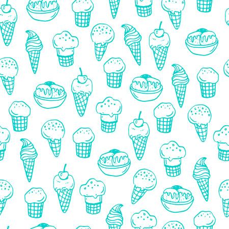 helado caricatura: Modelo inconsútil con los helados dibujado a mano. Vectores