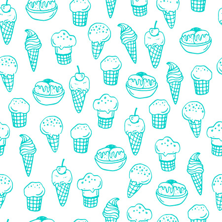 ice background: Seamless pattern with hand drawn ice creams.