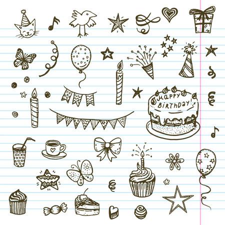 torta candeline: Elementi birhday. Hand drawn set con torta di compleanno, baloons, regalo e gli attributi di festa. Bambini che disegnano collezione scarabocchio. Vettoriali