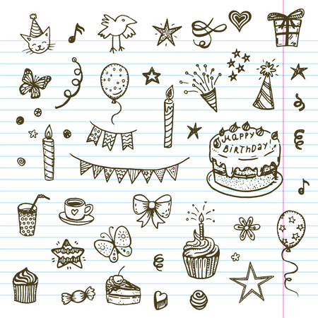 pajaro dibujo: Elementos Birhday. Dibujado a mano conjunto con la torta de cumpleaños, globos, regalos y atributos festivas. Dibujo infantil colección del Doodle.
