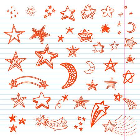 estrella: Dibujado a mano estrellas Doodle conjunto Vectores