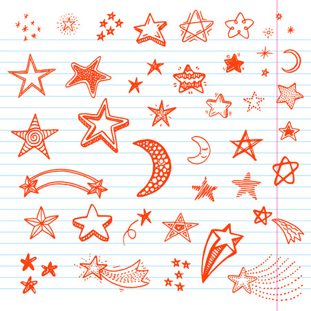 blue stars: Hand drawn doodle stars set Illustration