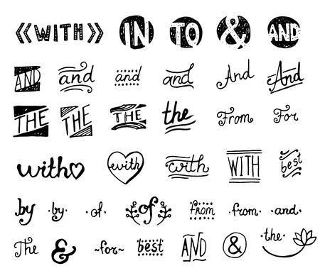 line art: Conjunto drenado mano. Palabras de golpe con, y, en, para, para, de, la, de, por.