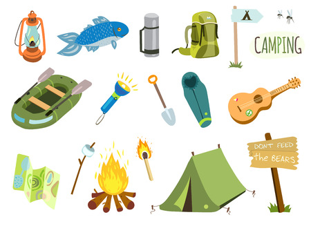 summer camp: Camping set with bonfire, tourist tent, fishing boat, guitar etc.