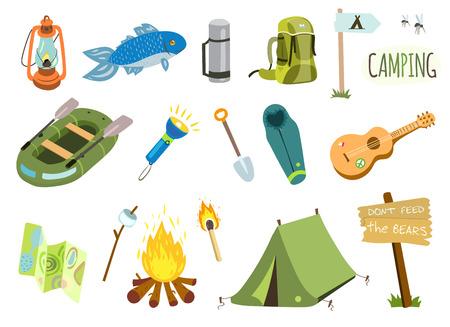 Ensemble de camping avec feu de camp, tente de tourisme, bateau de pêche, guitare, etc. Vecteurs
