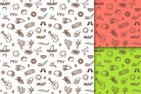 sombrero de charro: Patrones transparentes mexicanos dibujado mano conjunto Vectores