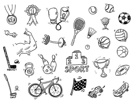 exercise equipment: Hand drawn sport doodle set