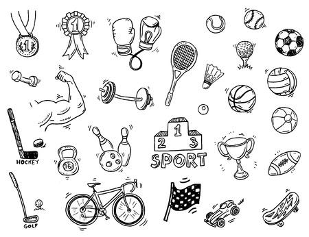 icono deportes: Mano deporte dibujado conjunto del doodle