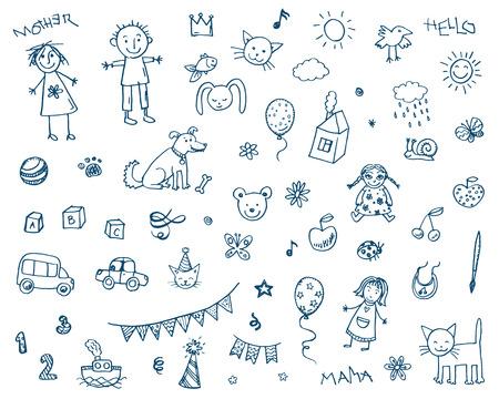 Mano disegnato doodle bambini che disegnano insieme Archivio Fotografico - 41723066