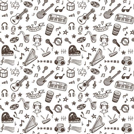 instrumentos musicales: Dibujado a mano instrumentos musicales colección sin patrón. Conjunto de la música.