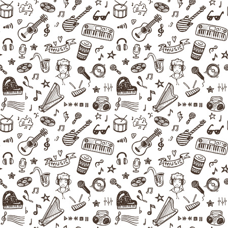 Hand drawn musical instruments collection seamless pattern. Music set.