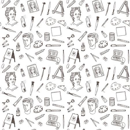 Hand drawn doodle artist tools set seamless pattern. Ilustração