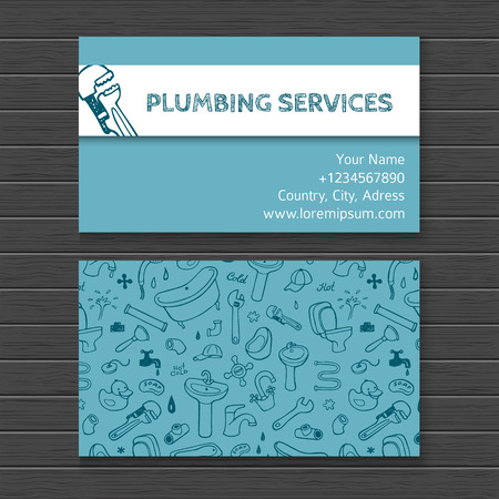 plumber tools: Hand drawn watercolor business card mock up with plumbing doodle icons Illustration