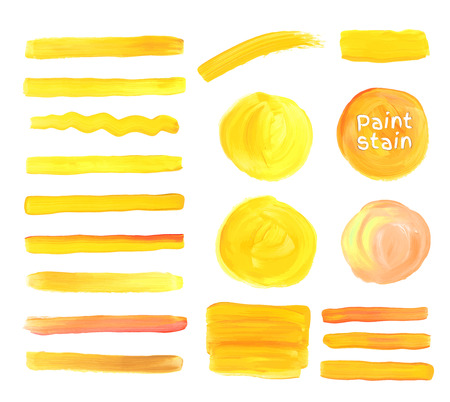 yellow design element: oil paint texture stains set. Yellow colors.