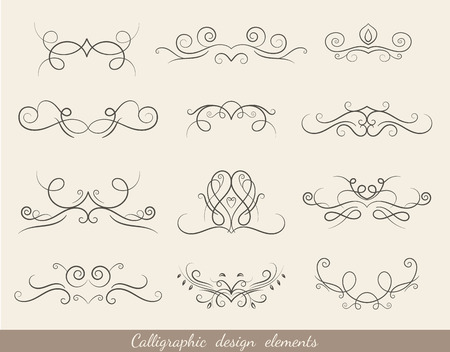 calligraphic design: Calligraphic design elements set