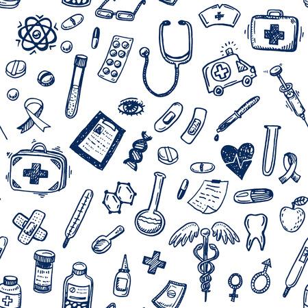 손으로 그린 원활한 의학 및 의료 배경 일러스트