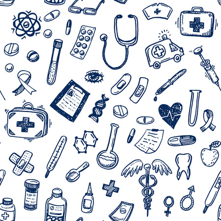 medical symbol: Hand drawn seamless medicine and healthcare background Illustration
