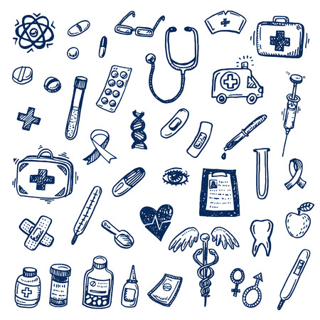 Hand drawn healthcare and medicine doodle sketch icons set