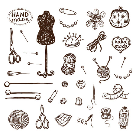 buttons sewing: Hand drawn sewing icons set.