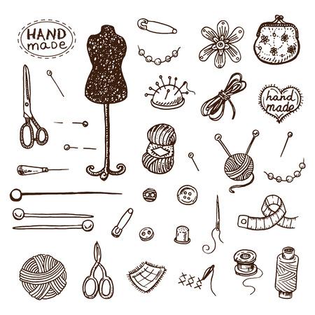 Hand drawn sewing icons set.