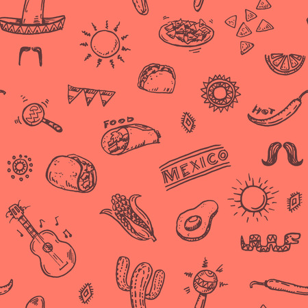 food icons: Mexican seamless hand drawn pattern Illustration