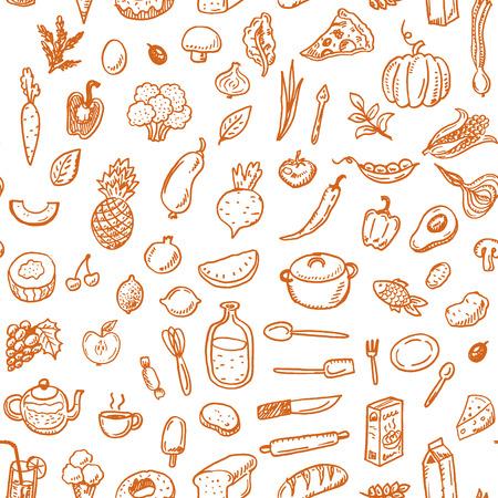 手描き下ろしのシームレスな食のパターン。  イラスト・ベクター素材