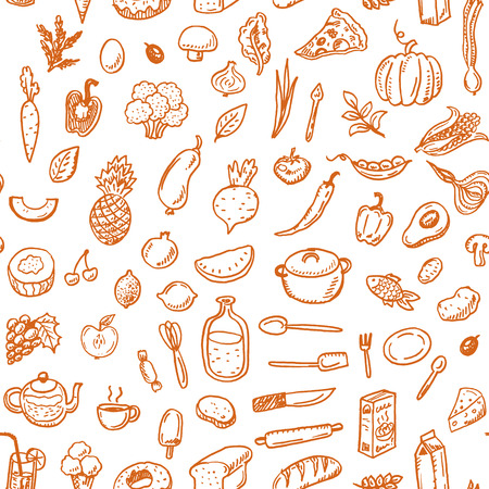 zanahoria caricatura: Dibujado a mano patr�n de la comida sin problemas. Vectores