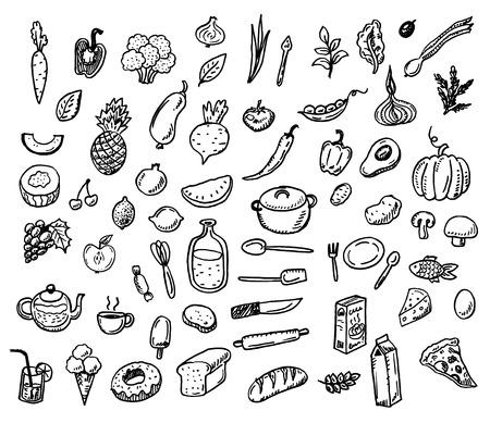 大きな手描き落書き健康食品のアイコンを設定  イラスト・ベクター素材