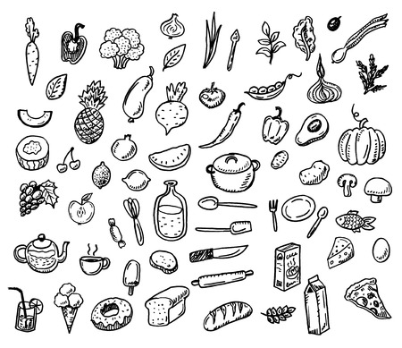 Big hand drawn doodle healthy food icons set