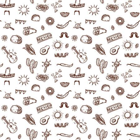 latinoamerica: Mexican seamless hand drawn pattern Illustration