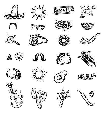 sombrero de charro: Iconos dibujados a mano sin costura mexicanas establecen Vectores