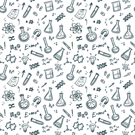 Hand Drawn Chemistry seamless pattern. Science background. Stock Illustratie