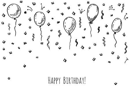 Hand getekende partij achtergrond met ballonnen en confetti.