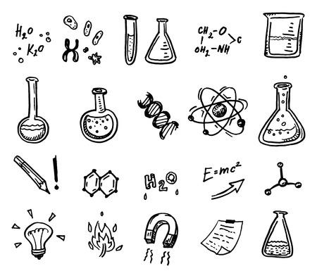 experimento: Dibujado a mano de química y ciencias iconos conjunto. Vectores