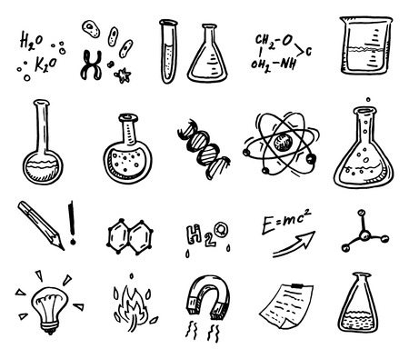 Hand drawn chemistry and science icons set. Ilustração