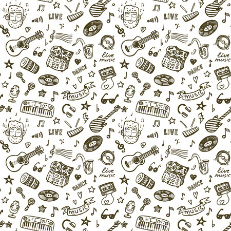 Hand drawn music seamless backround pattern Çizim