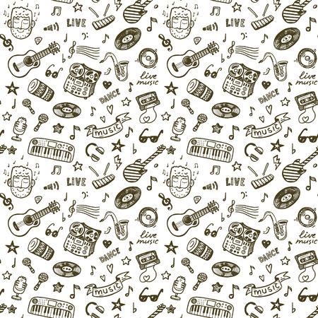 iconos de m�sica: Mano de m�sica dibujado patr�n perfecta antecedentes