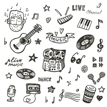 nota musical: Dibujado a mano colección de instrumentos musicales. Conjunto de la música.