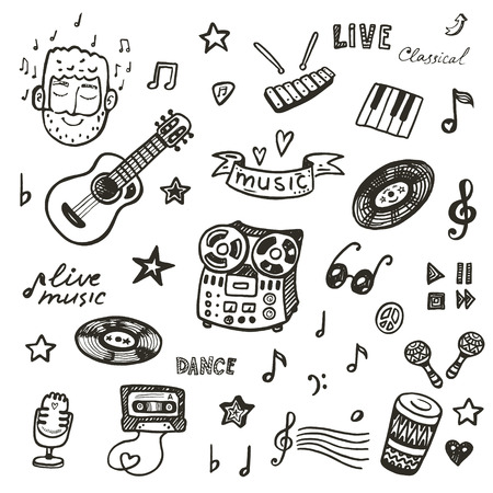 notes music: Hand drawn musical instruments collection. Music set.
