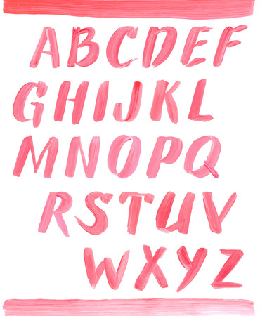 Lipstick and nail polish font. Hand drawn red oil painting alphabet.