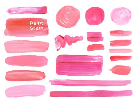 dessin: Lot de cosm�tiques texture rondes srains isol� sur blanc. Vecteur peinture � l'huile texture. Maquillage couleurs.